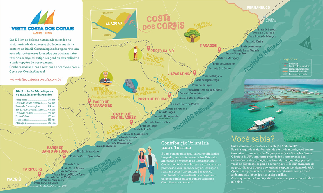 Visite Costa dos Corais - Costa dos Corais Convention & Visitors Bureau - Mapa